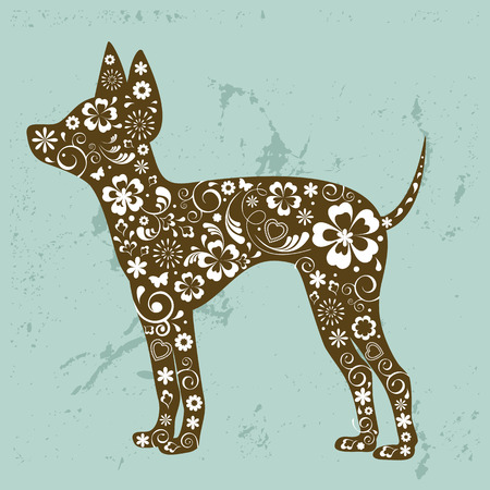 dog breeds: Russian toy terrier with floral ornament decoration Illustration