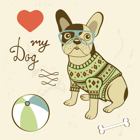 cute dog: Love my dog. Illustration of a hipster french bulldog. Vector format