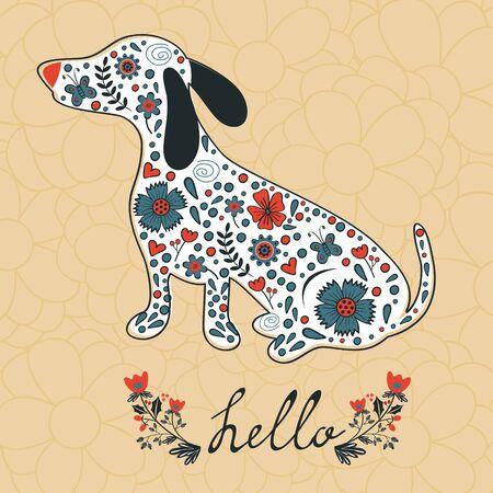 oncept: oncept hello card with floral badger dog. Vector illustration