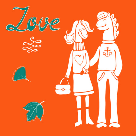 Love concept card with cute hand drawn horse characters couple. Vector illustration