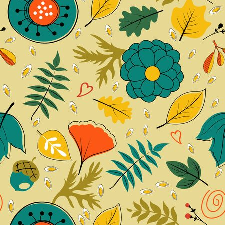 twigs: Beautiful autumn leaves flowers and twigs pattern. vector illustration