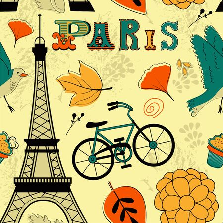 points of interest: Seamless pattern with Eiffel tower. Illustration in vector format