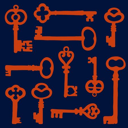 passkey: Vintage key silhouettes composition. Illustration in vector format