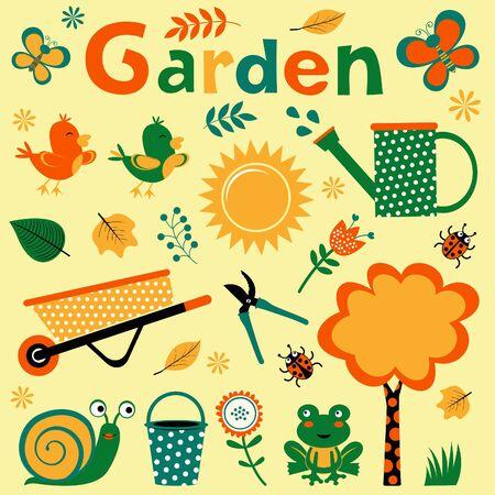 viewfinderchallenge3: Colorful garden elements cute composition. Vector illustration