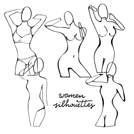 nude black woman: Beautiful black and white nude woman silhouettes. Illustration in vector format Illustration