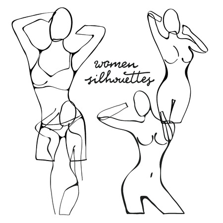 beautiful naked woman: Beautiful black and white nude woman silhouettes. Illustration in vector format Illustration