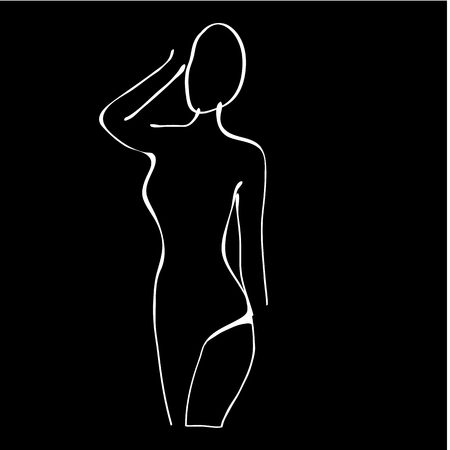 nude black woman: Beautiful black and white nude woman silhouette. Illustration in vector format Illustration
