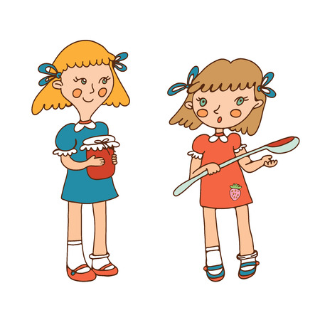 skecth: Illustration of two little girls and jam in vector format