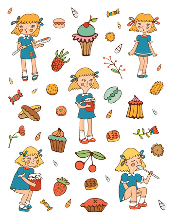 skecth: Little girls and sweets collection. Illustration in vector fromat Illustration
