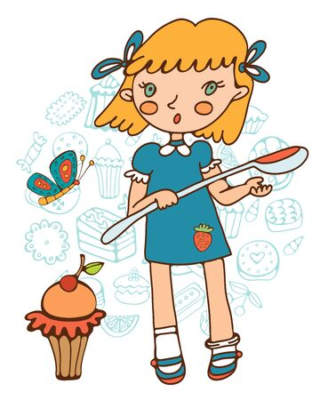 skecth: Cute girl with a huge cupcake holding a big spoon. Illustration in vector format