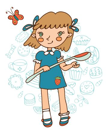 skecth: Cute girl holding a big spoon. Illustration in vector format