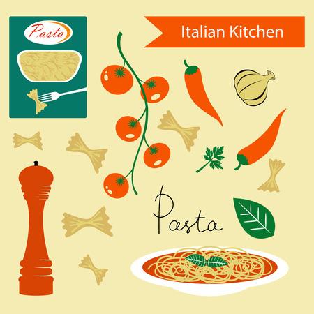vegetable cook: A colorful Italian kitchen set. Illustration in vector format Illustration