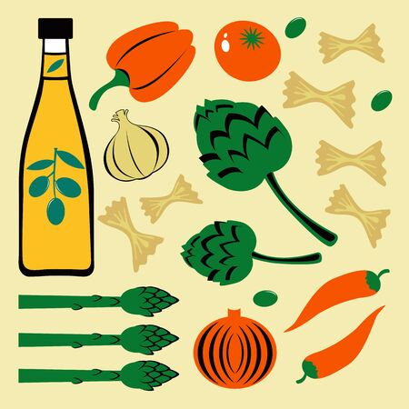 Bright colorful food set. Illustration in vector format