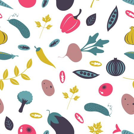 Colorful farm vegetables seamless pattern. Vector illustration Illustration