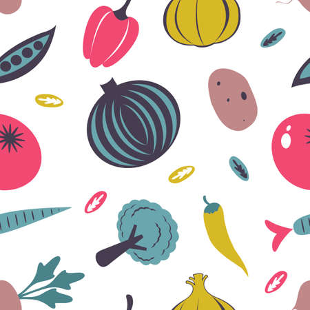 Colorful fresh fruit and vegetables seamless pattern. Vector illustration Illustration