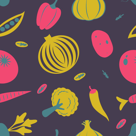 Colorful fresh fruit and vegetables seamless pattern. Vector illustration  イラスト・ベクター素材