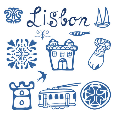 tramcar: Stylish Portugal typical icons collection. vector illustration