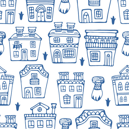 traditional illustration: Seamless pattern wit traditional portuguese houses. Vector illustration