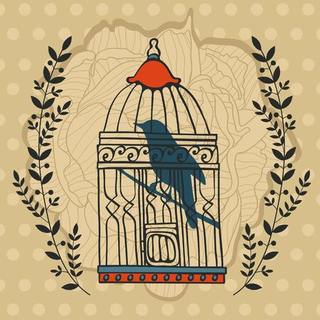 captivity: Illustration of bird in cage. Vector format