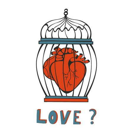 lockup: Is it Love. Human heart in a cage. Vector illustration. Illustration