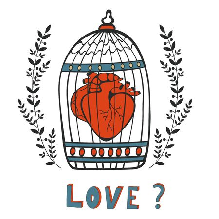 Is it Love. Human heart in a cage. Vector illustration. Illustration