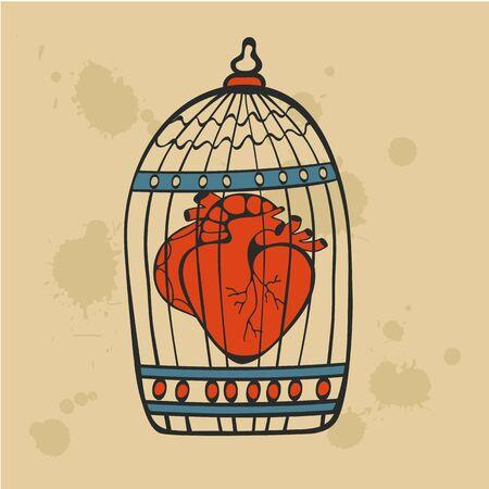 lockup: Human heart in a cage. Vector illustration. Illustration