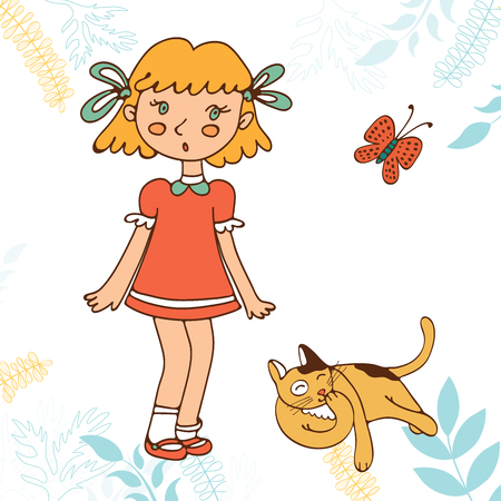 skecth: Cute little girl and cat. Illustration in vector format