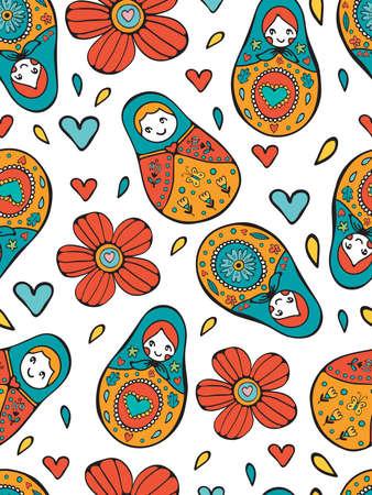russian dolls: Seamless Russian Dolls pattern illustration in vector format