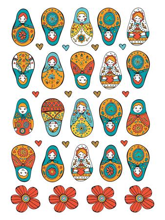 muñecas rusas: muñecas rusas de recogida de colores. Ilustración en formato vectorial