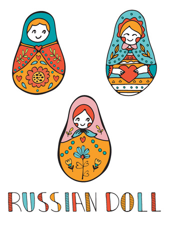 muñecas rusas: Colorful card with cute russian dolls. Illustration in vector format Vectores