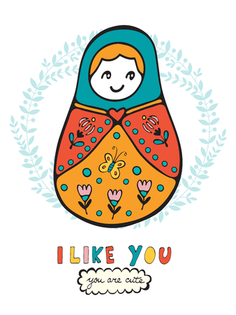russian doll: Colorful card with cute russian doll. Illustration in vector format