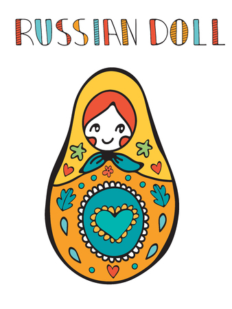wooden doll: Colorful card with cute russian doll. Illustration in vector format