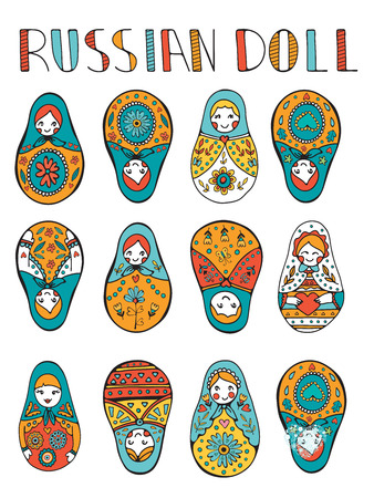 muñecas rusas: Russian dolls colorful collection. Illustration in vector format