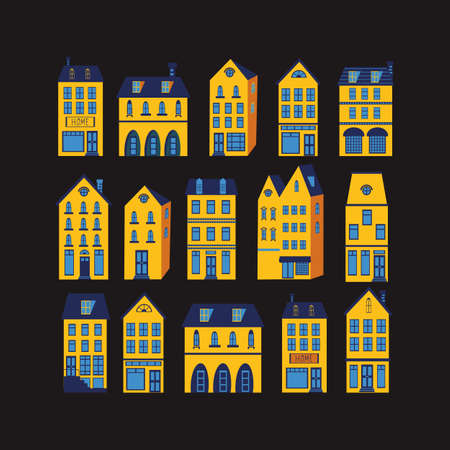 iconic architecture: Cute houses colorful set. Illustration in vector format