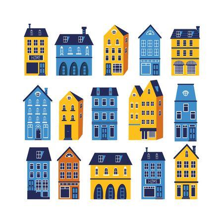 european: Cute sity set. Illustration in vector format Illustration