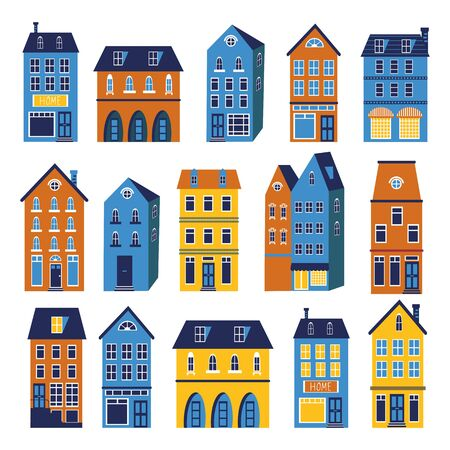 iconic: Cute houses colorful set. Illustration in vector format