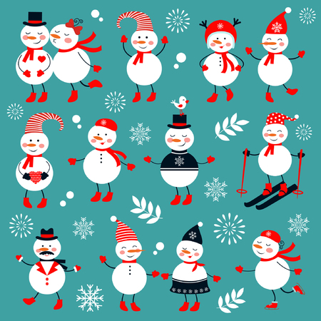 illustration collection: Cute snowmen collection. Illustration in vector format