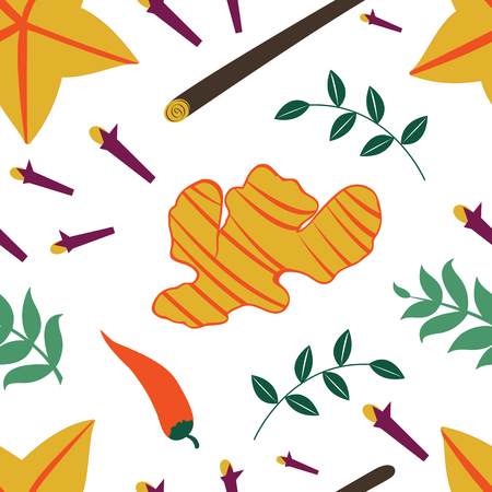 fresh vegetables: Seamless pattern with fresh vegetables and spices. Illustration in vector format