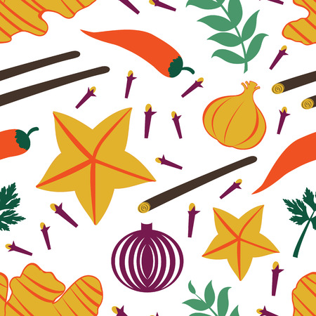 Seamless pattern with fresh vegetables and spices. Illustration in vector format
