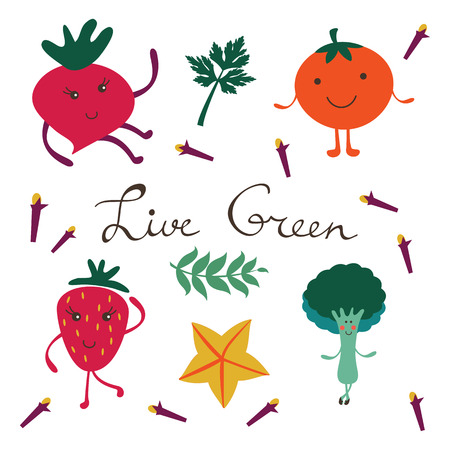 Fruits and vegetables colorful collection. Illustration in vector format