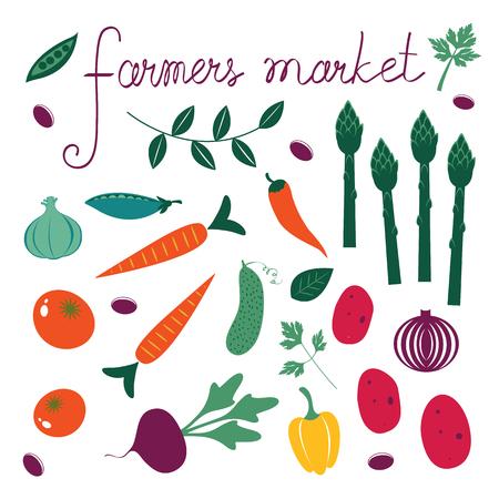 mediterranean: Farmers market set. Collection of fresh vegetables.Illustration in vector format