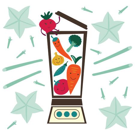 cocktail mixer: Vegetable smoothie preparation. Illustration in vector format Illustration