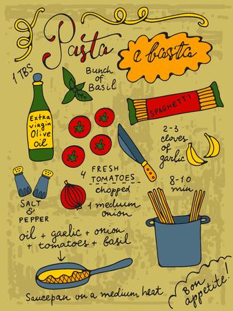 aceite de oliva: Pasta e basta. Pasta eso es todo. Basta es una palabra italiana para todos. ilustración dibujados a mano receta de pasta