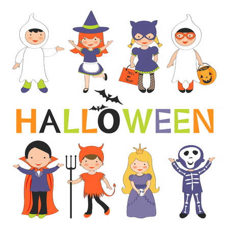 Cute colorful Halloween kids set. Vector illustration Illustration