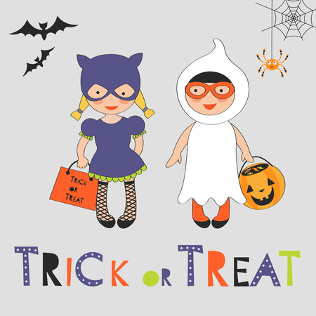 Trick or treat Halloween card with two kids in costumes. Vector illustration