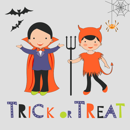 skeleton costume: Trick or treat Halloween card with two kids in costumes. Vector illustration