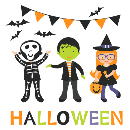Illustration of cute Halloween kids in vector format