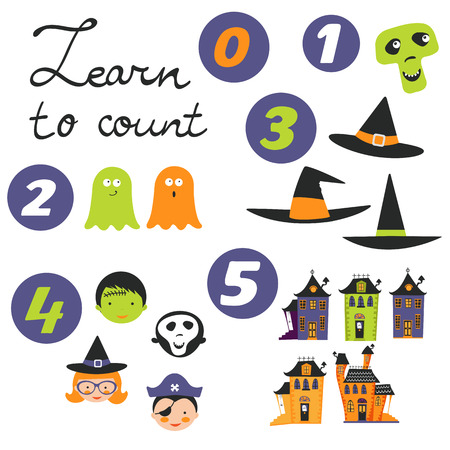monsters house: Learn to count Halloween related cute collection. Vector illustration Illustration