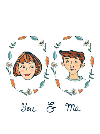romatic: You and me romantic set with two prortraits Illustration