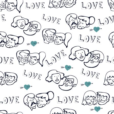 love couples: Seamless pattern with human faces. Couples in love.